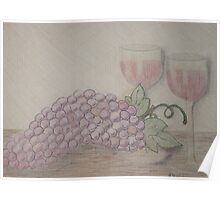 Still Life - Drawing Grapes and Wine Poster