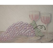 Still Life - Drawing Grapes and Wine Photographic Print