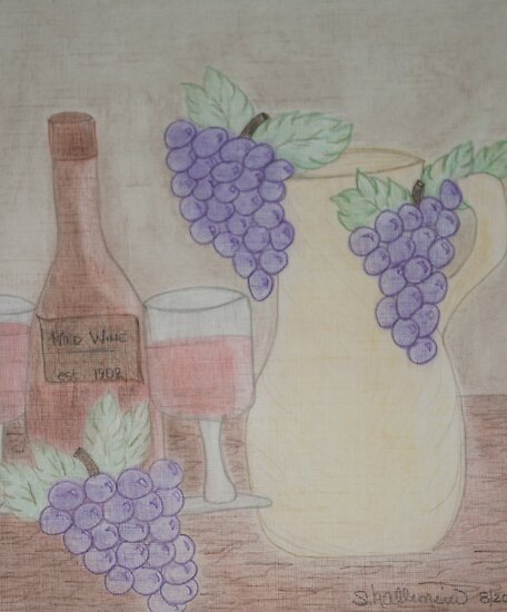 Still Life - Drawing Grapes, Wine and Pitcher by Sherry Hallemeier