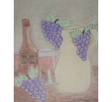 Still Life - Drawing Grapes, Wine and Pitcher Photographic Print