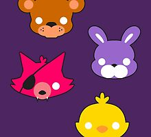 FNAF // Freddy's Faces Pattern Cute Kawaii Chibi for kids by hocapontas