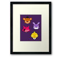FNAF // Freddy's Faces Pattern Cute Kawaii Chibi for kids Framed Print
