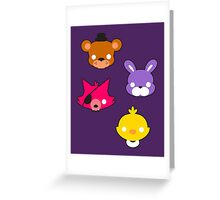 FNAF // Freddy's Faces Pattern Cute Kawaii Chibi for kids Greeting Card