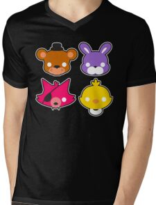 FNAF // Freddy's Faces Pattern Cute Kawaii Chibi for kids Mens V-Neck T-Shirt
