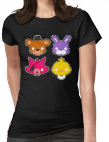 FNAF // Freddy's Faces Pattern Cute Kawaii Chibi for kids Womens Fitted T-Shirt
