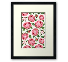 Watercolor Peonies Framed Print