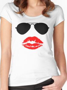 Aviator Sunglasses and Kiss Women's Fitted Scoop T-Shirt