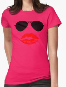 Aviator Sunglasses and Kiss Womens Fitted T-Shirt