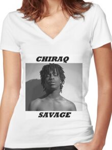 CHIRAQ SAVAGE Women's Fitted V-Neck T-Shirt