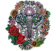 Flower Elephant Mandala  Photographic Print