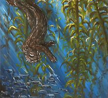 Otter in a Kelp Forest by silentsunlight