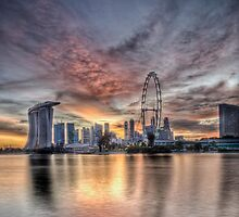 vertical sunset in singapore by paulcowell