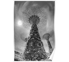 artificial trees in gardens by the bay, singapore Poster
