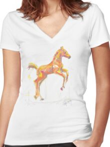 Foal out and about Women's Fitted V-Neck T-Shirt