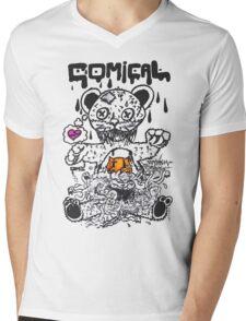 Comical Bear Mens V-Neck T-Shirt