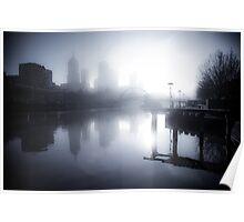 Misty Melbourne Morning Poster