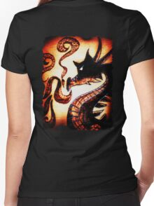 Flames and Thunder Dragon Women's Fitted V-Neck T-Shirt