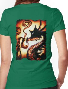 Flames and Thunder Dragon Womens Fitted T-Shirt