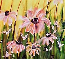 My wonderful Crazy daisies, watercolor by Anna  Lewis