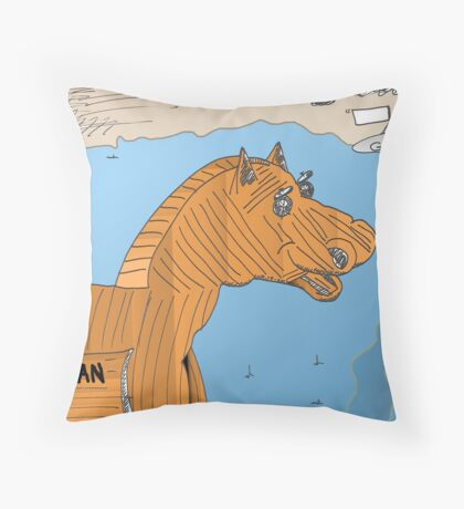 Cheval de Troie EURO pour les Grecs Throw Pillow
