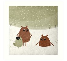 bears and squirrel in the snow Art Print