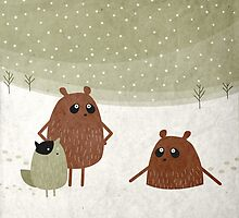 bears and squirrel in the snow by fuzzorama