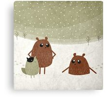 bears and squirrel in the snow Canvas Print