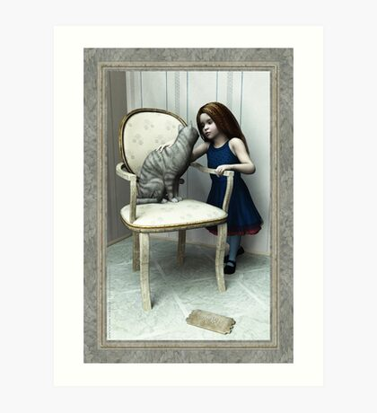 Little Girl and Cat on a chair Art Print