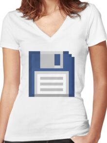 Pixel Floppy Disk Women's Fitted V-Neck T-Shirt