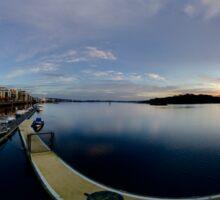 Dawn Calm at Foyle Marina - Rectangular Sticker