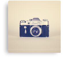 Retro - Vintage Black Camera on Beige Background  Canvas Print