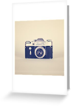 Retro - Vintage Black Camera on Beige Background  by Caroline Mint