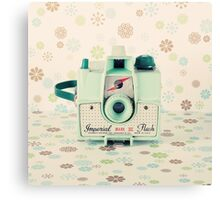 Retro - Vintage Mint Camera on Beige Pattern Background  Canvas Print