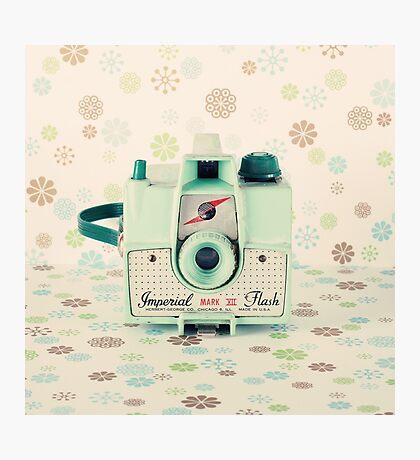 Retro - Vintage Mint Camera on Beige Pattern Background  Photographic Print