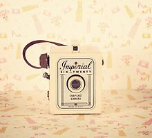 Retro - Vintage Pastel Camera on Girly Pattern Background  by Andreka