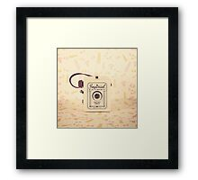 Retro - Vintage Pastel Camera on Girly Pattern Background  Framed Print