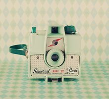 Retro - Vintage Mint Camera on Pattern Background  by Andreka