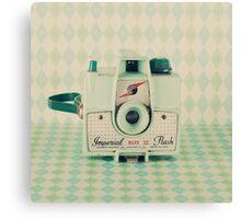Retro - Vintage Mint Camera on Pattern Background  Canvas Print