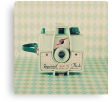 Retro - Vintage Mint Camera on Pattern Background  Canvas Print