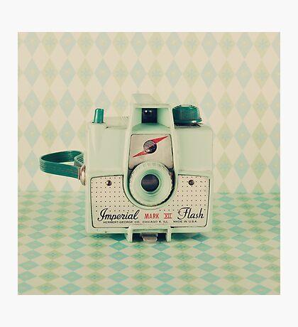 Retro - Vintage Mint Camera on Pattern Background  Photographic Print