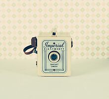 Retro - Vintage Pastel Camera on Beige Pattern Background  by Andreka