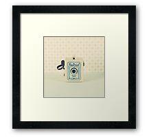 Retro - Vintage Pastel Camera on Beige Pattern Background  Framed Print