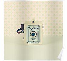 Retro - Vintage Pastel Camera on Beige Pattern Background  Poster