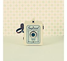 Retro - Vintage Pastel Camera on Beige Pattern Background  Photographic Print