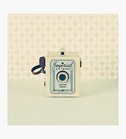 Retro - Vintage Pastel Camera on Beige Pattern Background  Photographic Print