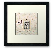 Retro - Vintage Pastel Camera on Cream Pattern Background  Framed Print