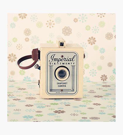 Retro - Vintage Pastel Camera on Cream Pattern Background  Photographic Print