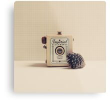 Retro - Vintage Autumn Camera and a Pine Cone on Beige Pattern Background  Metal Print