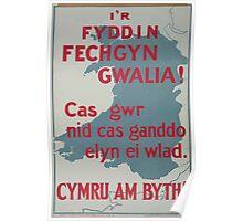Ir fyddin fechgyn gwalia! Cas gwr nid cas ganddo elyn ei wlad Cymru am byth! Poster