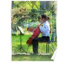Cellist in the Garden Poster
